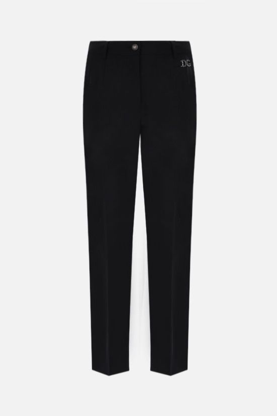DOLCE & GABBANA: DG logo-detailed stretch wool pants Color Black_1