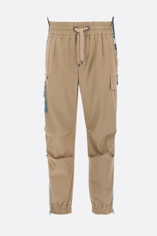 DOLCE & GABBANA: stretch cotton cargo pants with denim inserts Color Brown_1