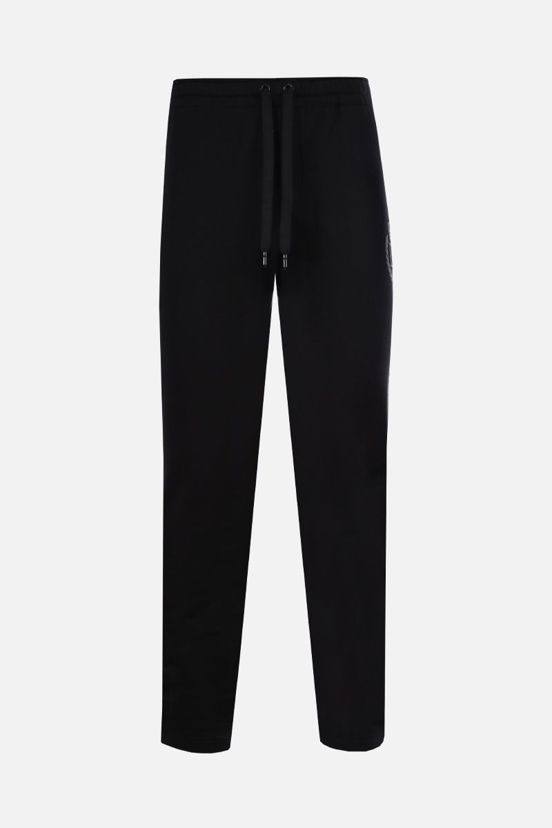 DOLCE & GABBANA: DG Crown print cotton joggers Color Black_1