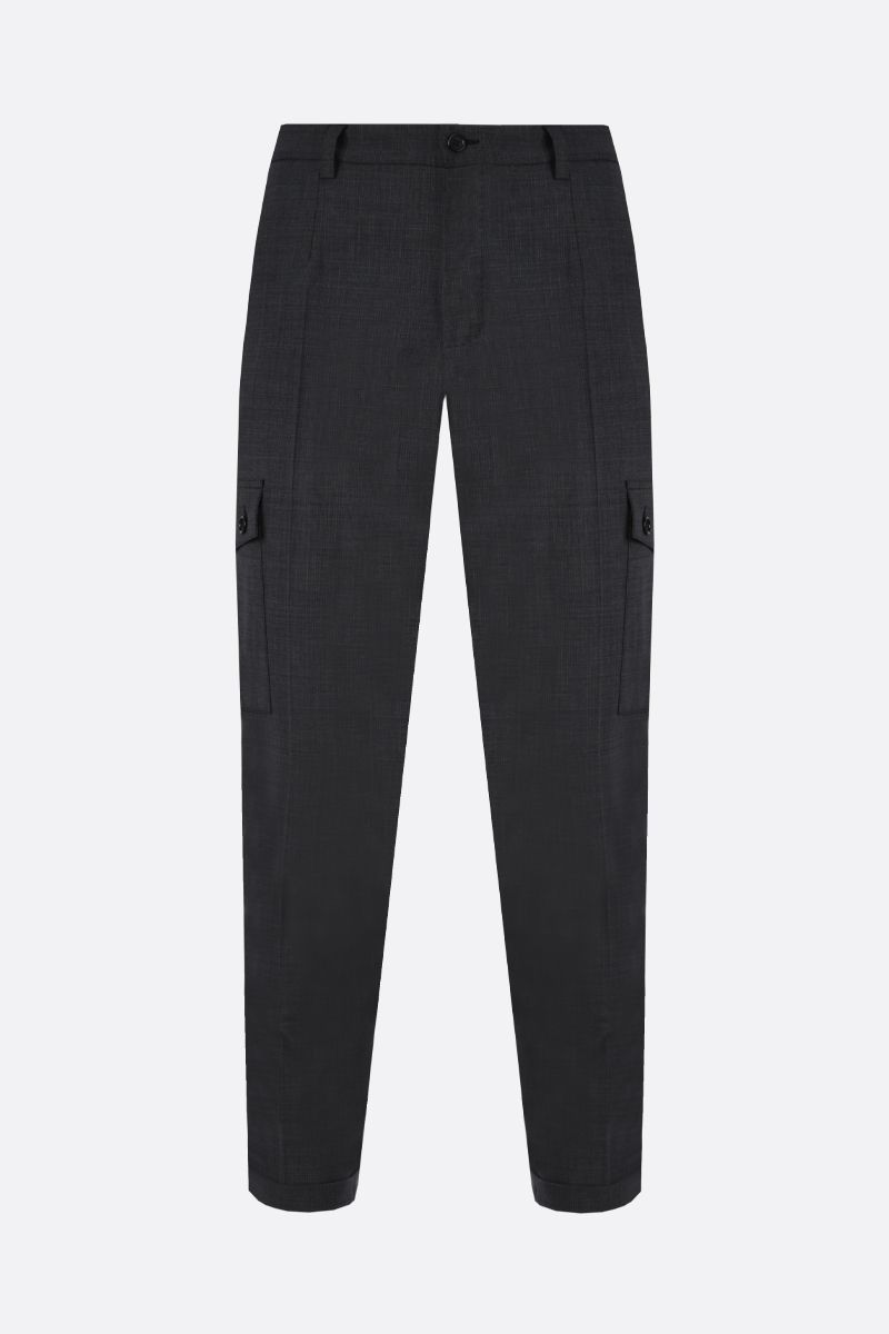 DOLCE & GABBANA: wool blend cargo pants Color Grey_1