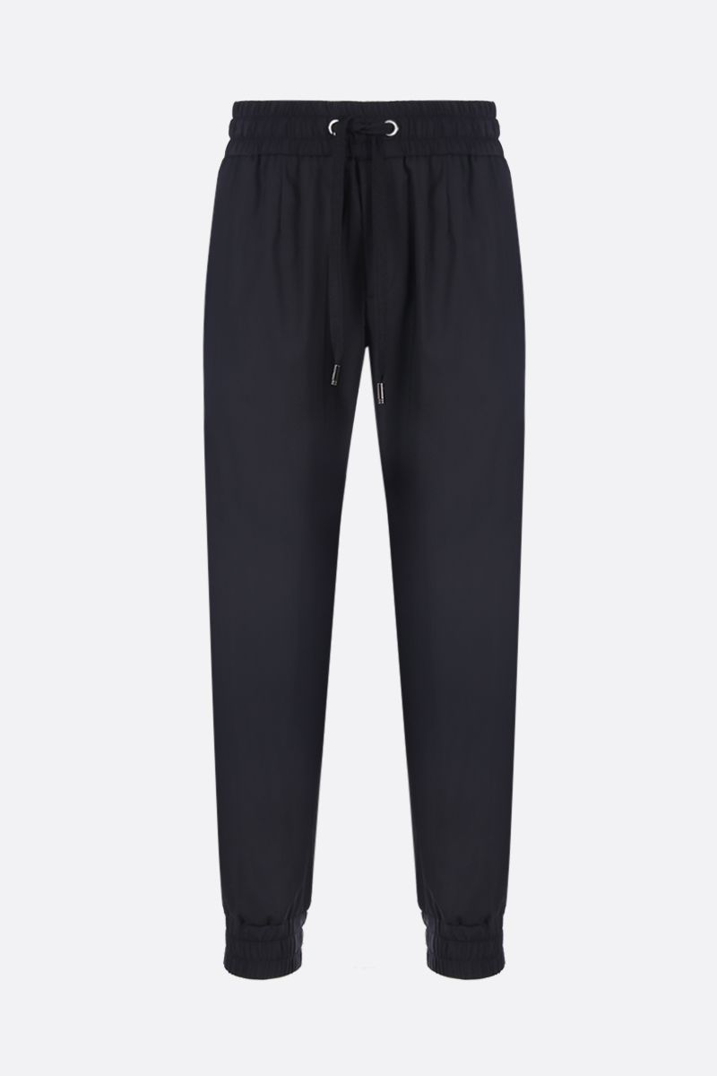 DOLCE & GABBANA: wool and silk blend joggers Color Black_1