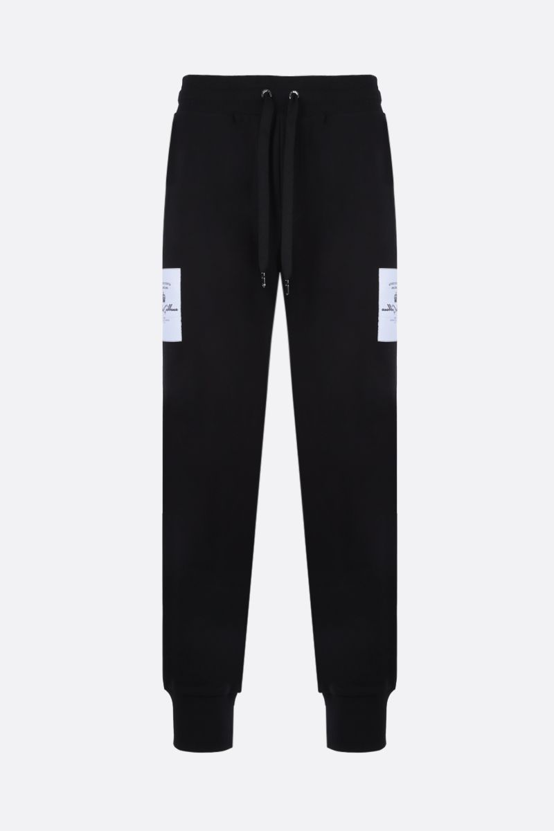 DOLCE & GABBANA: logo patch cotton joggers Color Black_1