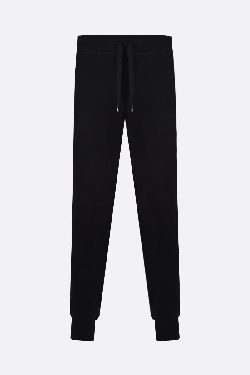 DOLCE & GABBANA: logo plaque-detailed cotton joggers Color Black_1