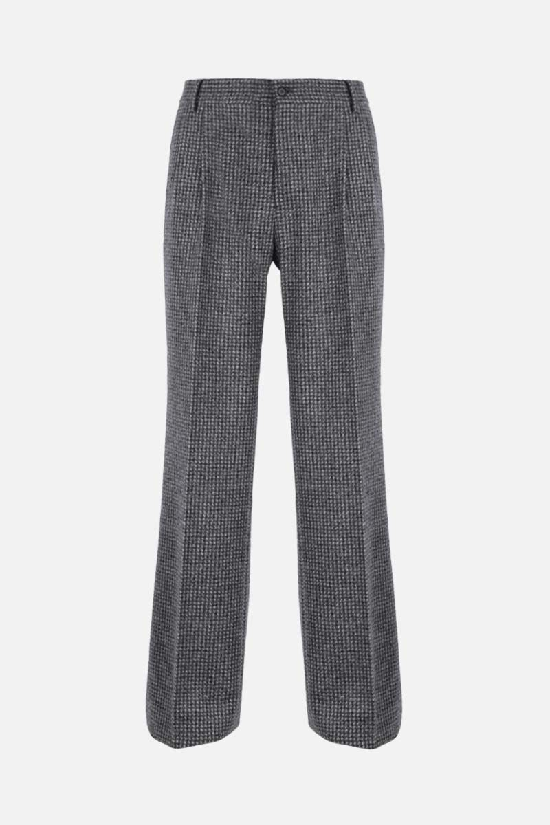 DOLCE & GABBANA: check wool alpaca blend darted pants Color Grey_1