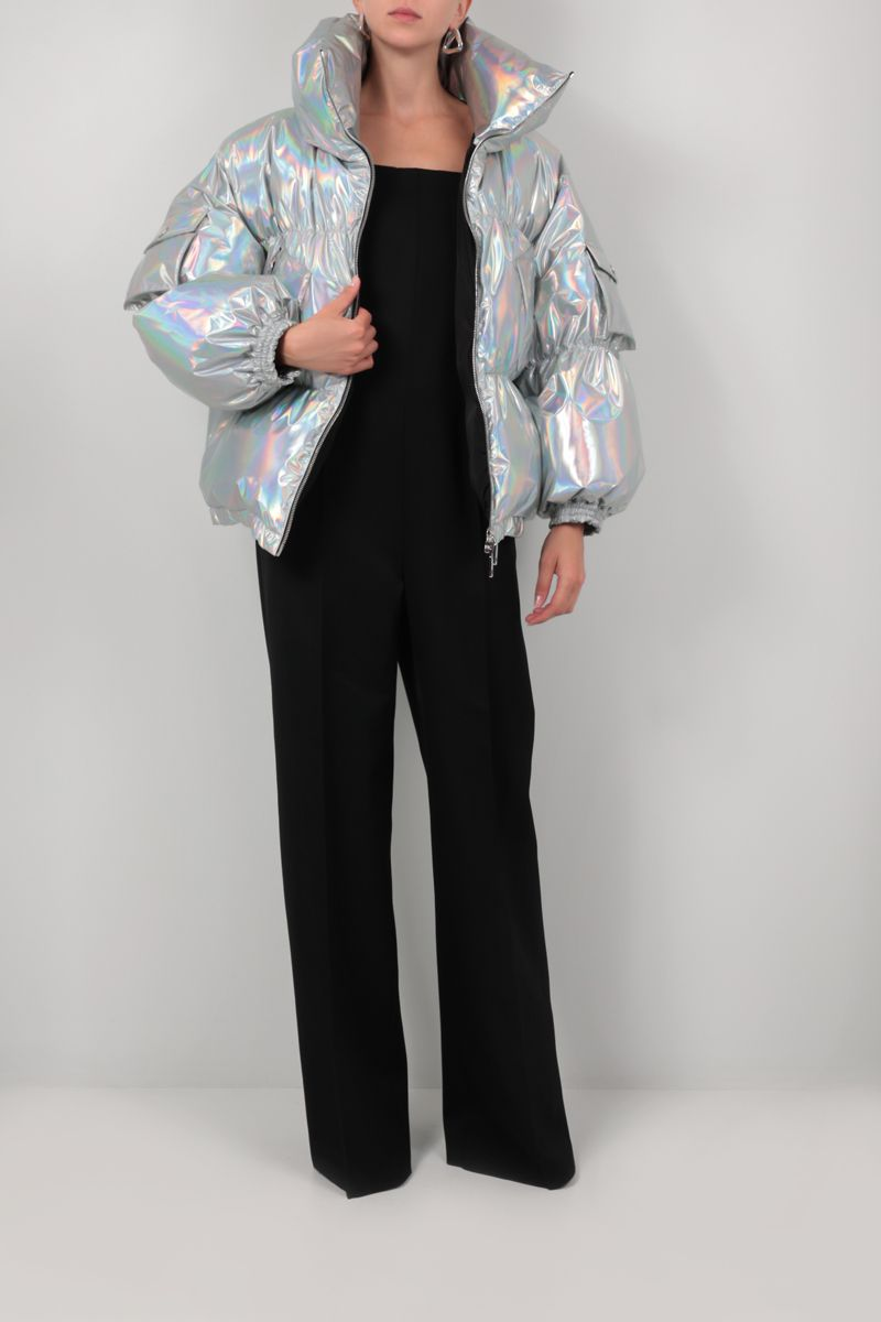 DOLCE & GABBANA: oversized holographic fabric down jacket Color Silver_2