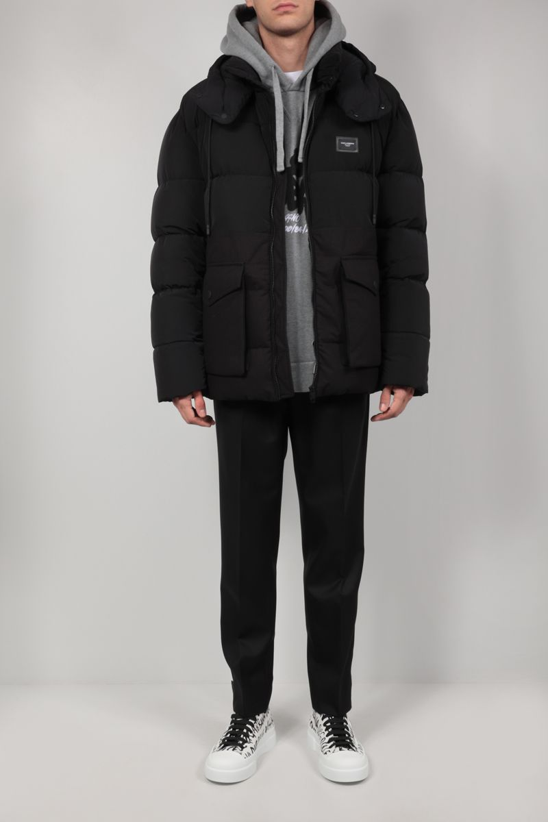 DOLCE & GABBANA: nylon and cotton ripstop down jacket Color Black_2