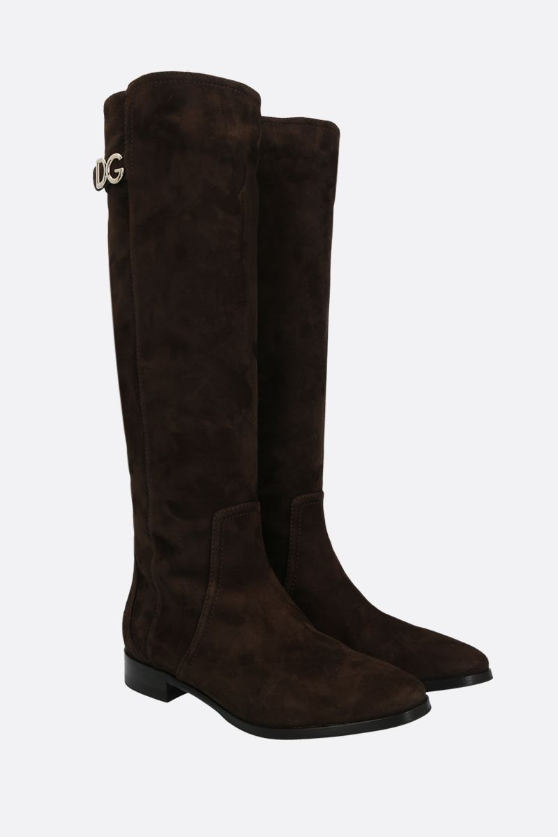 DOLCE & GABBANA: Napoli velvet suede boots Color Brown_2