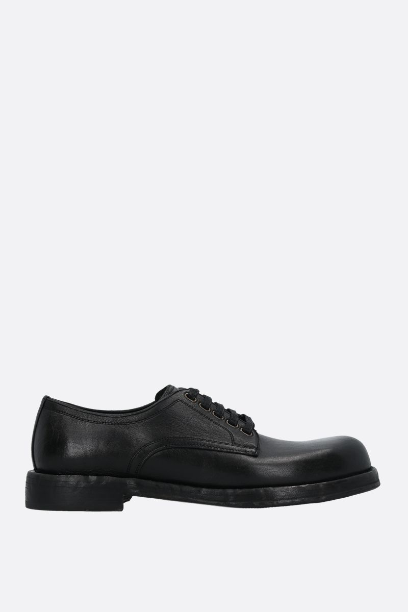 DOLCE & GABBANA: Perugino textured leather derby shoes Color Black_1