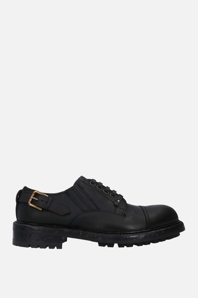 DOLCE & GABBANA: Bernini matte leather derby shoes Color Black_1
