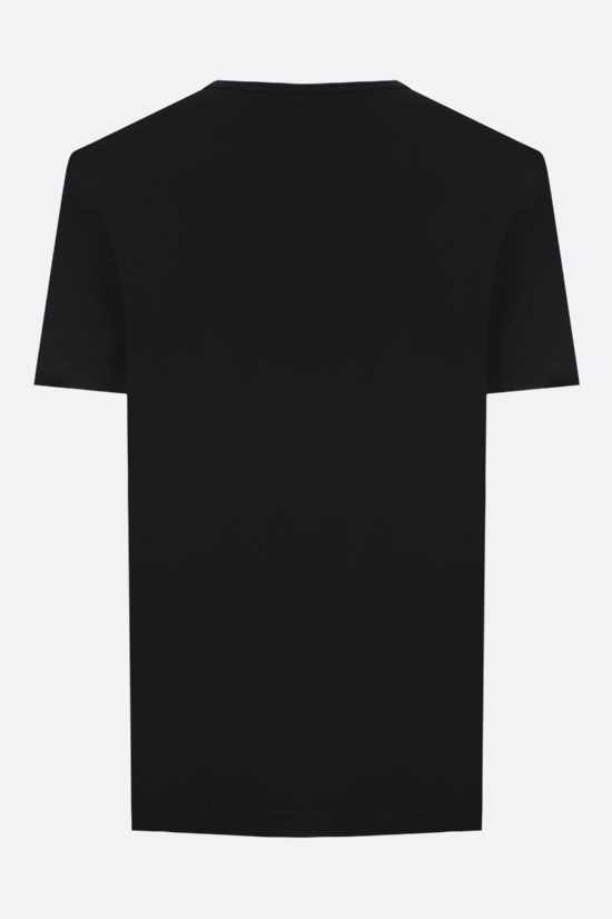 DOLCE & GABBANA: logoed label cotton t-shirt Color Black_2