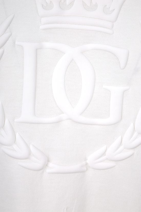 DOLCE & GABBANA: t-shirt in cotone stampa DG Crown Colore Bianco_4