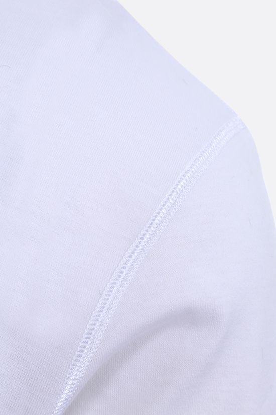 DOLCE & GABBANA: logoed plate-detailed cotton t-shirt Color White_4