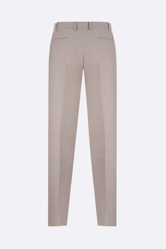 ERMENEGILDO ZEGNA: pantalone regular-fit in cotone e lino Colore Neutro_2