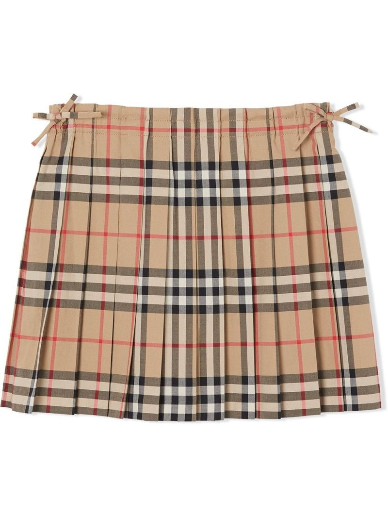 BURBERRY CHILDREN: Vintage check cotton pleated skirt Color Neutral_1