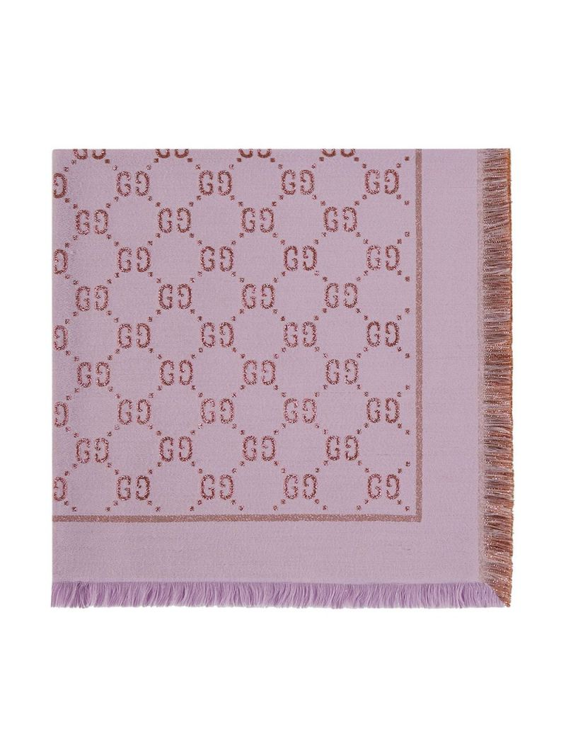 GUCCI CHILDREN: GG cotton wool blend shawl Color White_1