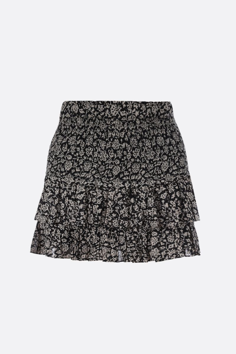 ISABEL MARANT ETOILE: Naomi printed cotton flounced miniskirt Color Black_1