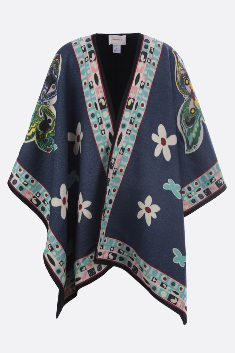 LA DOUBLE J: poncho in lana a motivo Butterfly Colore Blu_1
