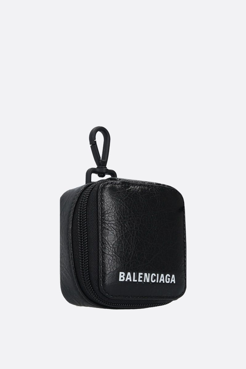 BALENCIAGA: Arena leather headphone case Color Black_2
