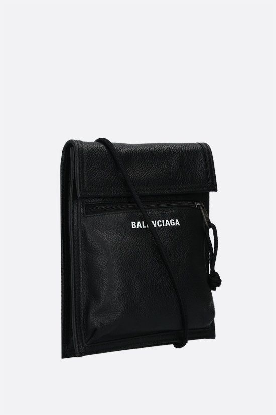 BALENCIAGA: Explorer grainy leather crossbody bag Color Black_2