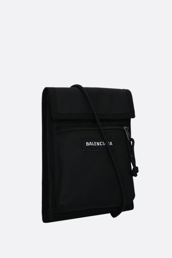 BALENCIAGA: Explorer recycled nylon crossbody bag Color Black_2