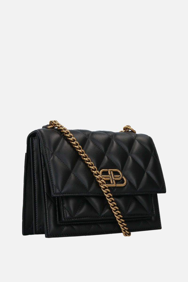 BALENCIAGA: Sharp S shoulder bag in quilted leather Color Black_2