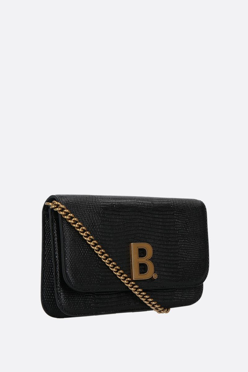 BALENCIAGA: B. lizard embossed leather chain wallet Color Black_2