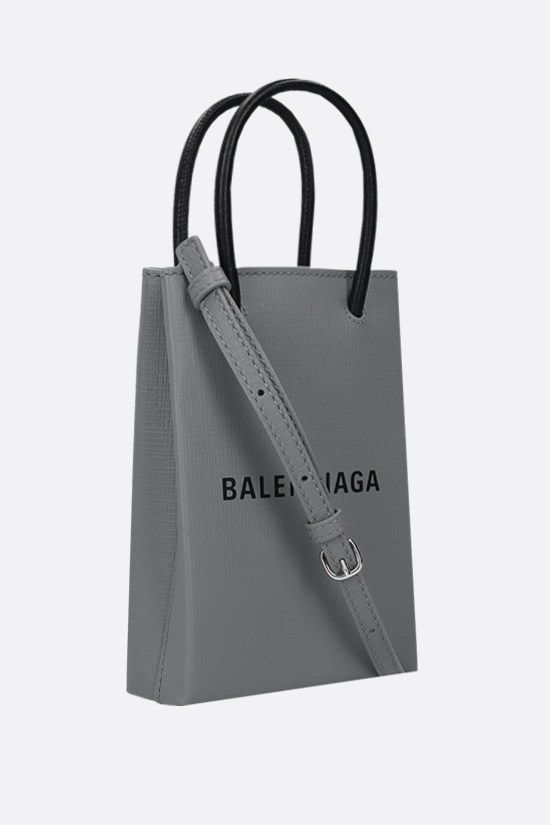 BALENCIAGA: Shopping textured leather phone holder bag Color Grey_2