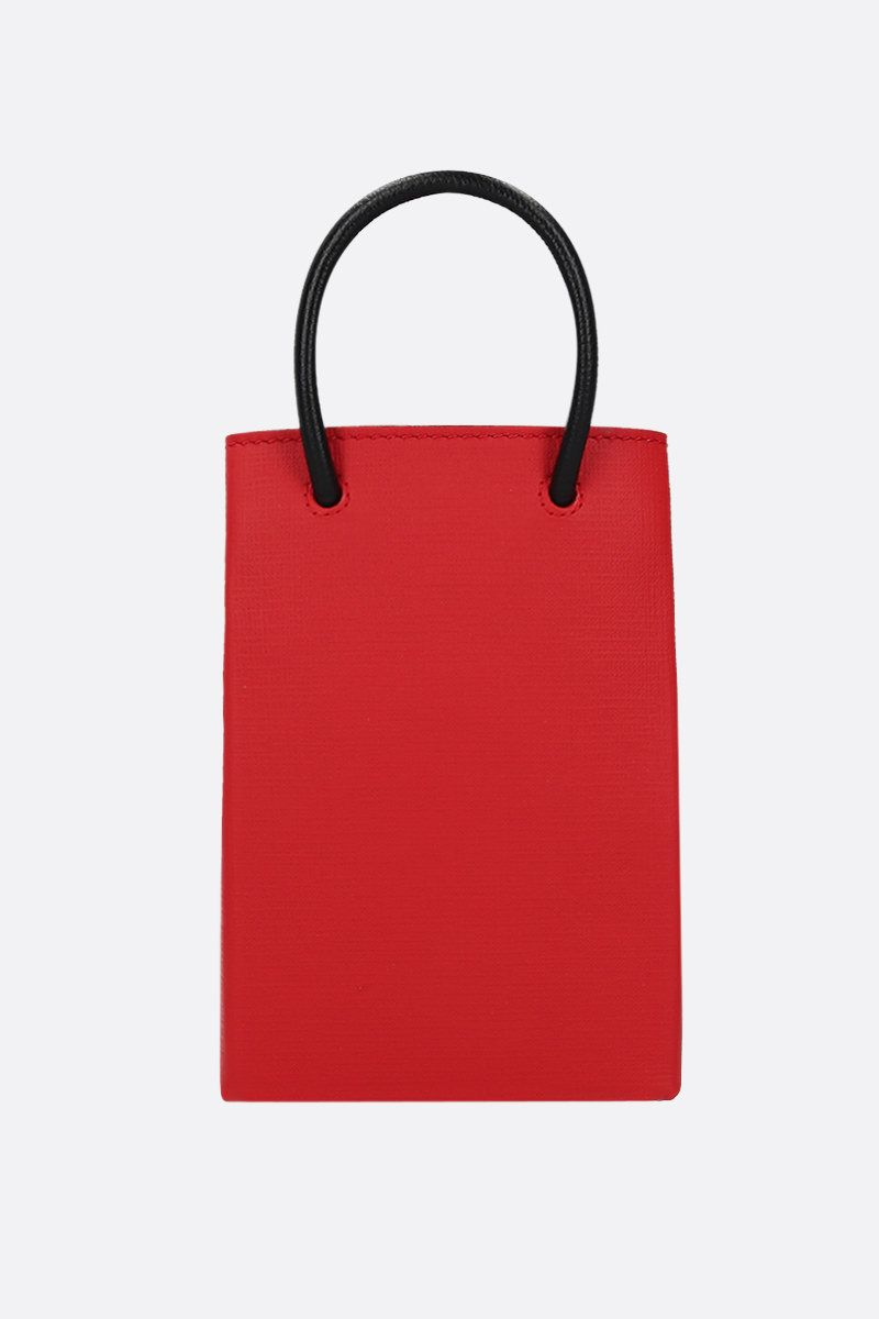 BALENCIAGA: Shopping textured leather phone holder bag Color Red_4