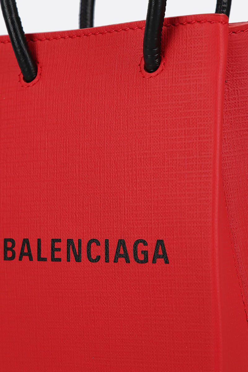 BALENCIAGA: Shopping textured leather phone holder bag Color Red_5