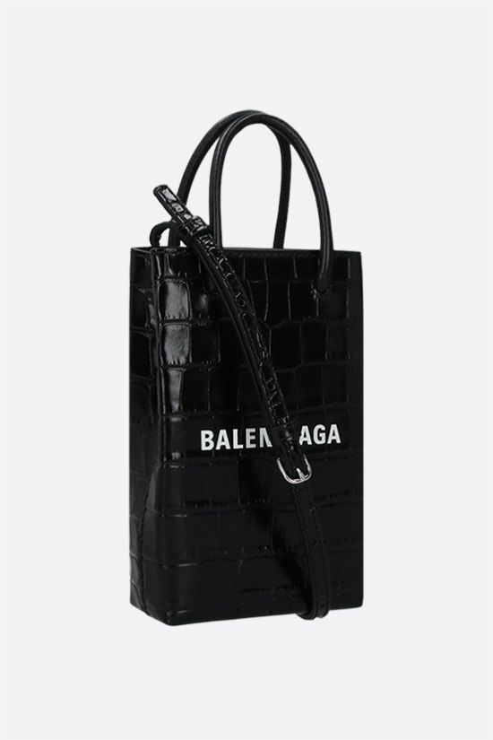 BALENCIAGA: Shopping crocodile embossed leather phone holder bag Color Black_2