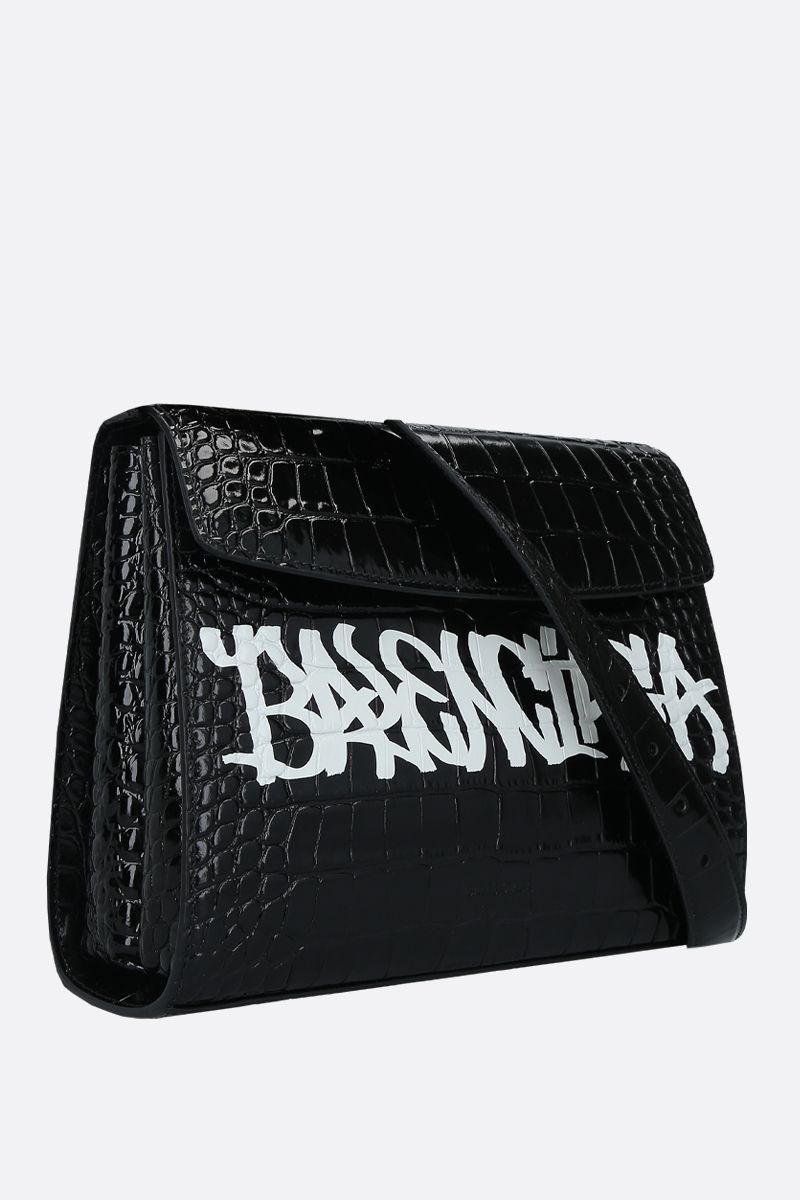 BALENCIAGA: borsa a spalla Ghost media in pelle stampa coccodrillo Colore Nero_2