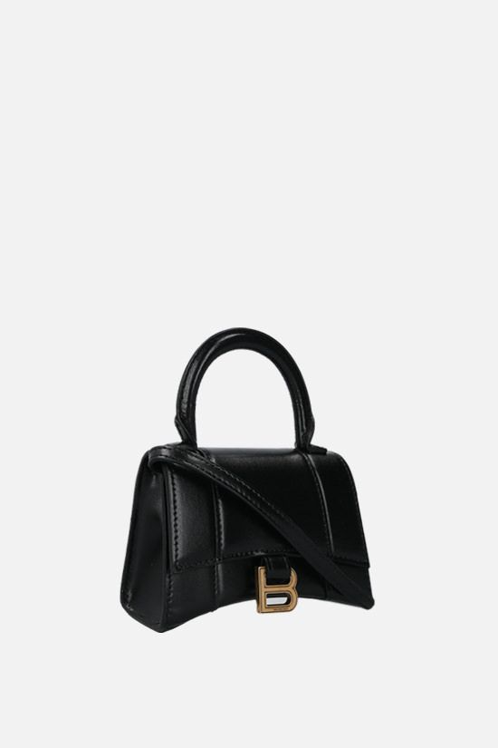 BALENCIAGA: Hourglass mini shony leather crossbody bag Color Black_2