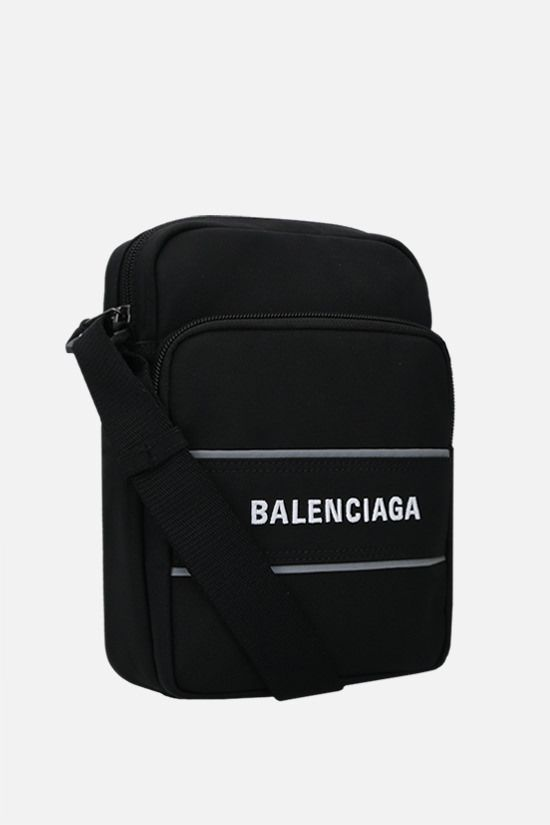BALENCIAGA: recycled nylon sport messenger bag Color Black_2