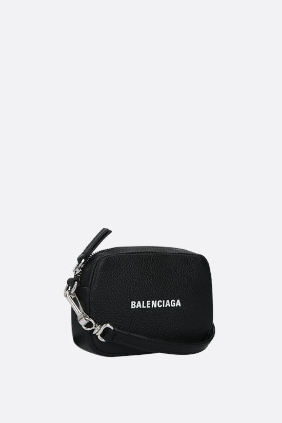 BALENCIAGA: Cash mini grainy leather crossbody bag Color Black_2