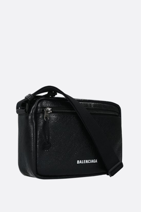 BALENCIAGA: Explorer shoulder bag in Arena leather Color Black_2