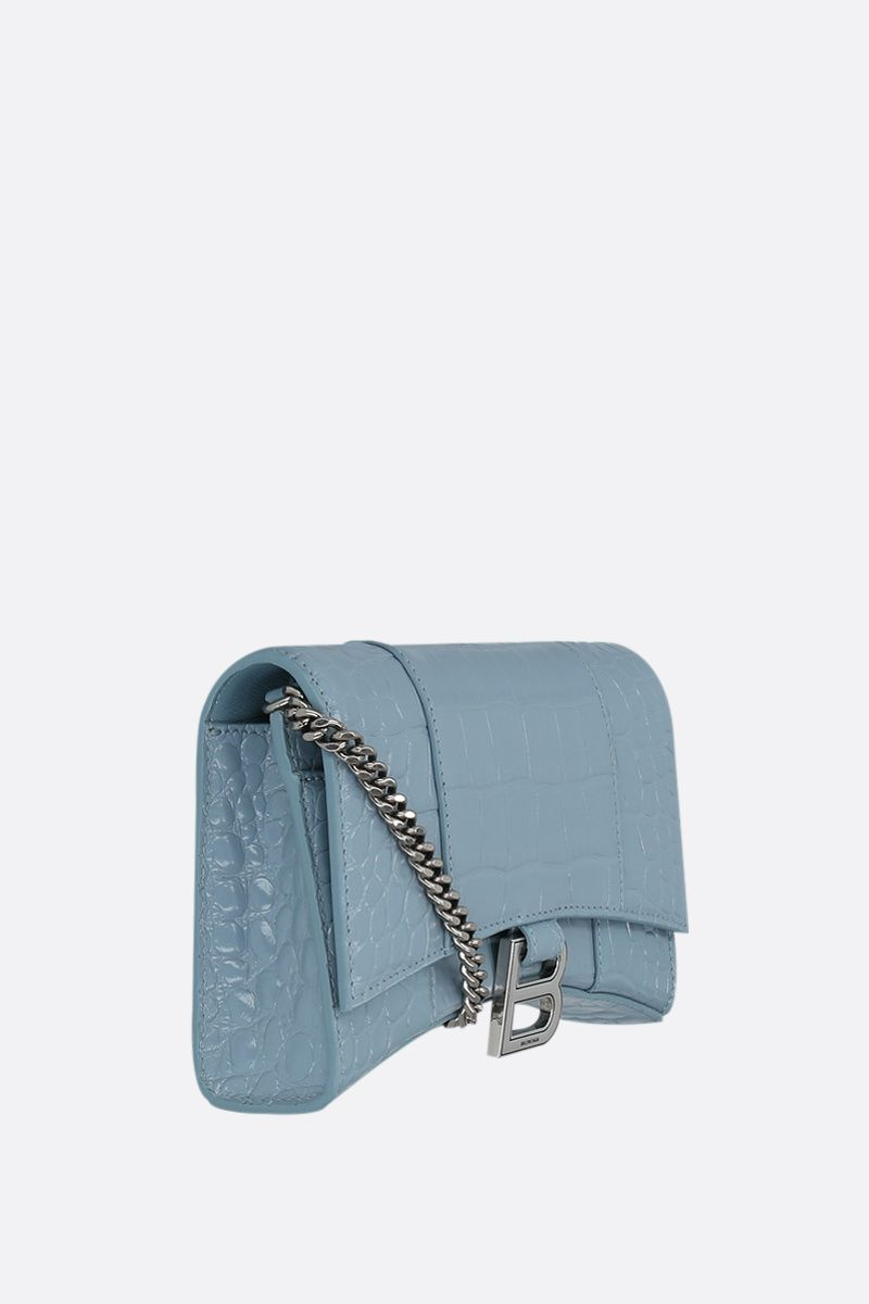 BALENCIAGA: Hourglass shiny croc-embossed leather chain wallet Color Blue_2