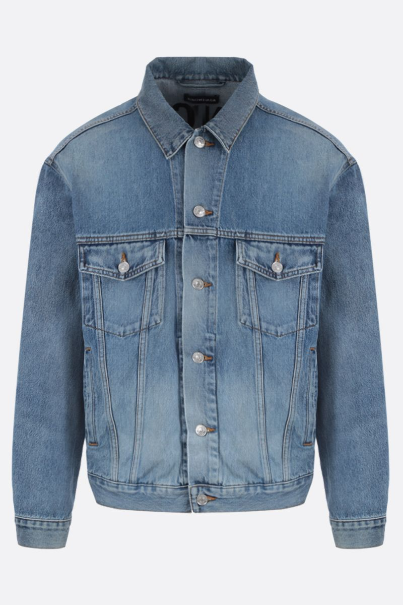 BALENCIAGA: logo embroidered denim jacket Color Blue_1