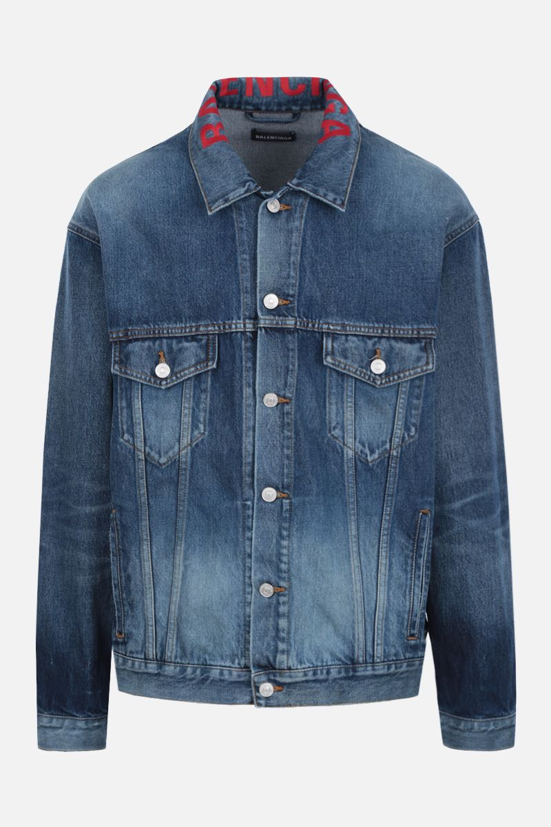 BALENCIAGA: logo embroidered denim oversized jacket_1