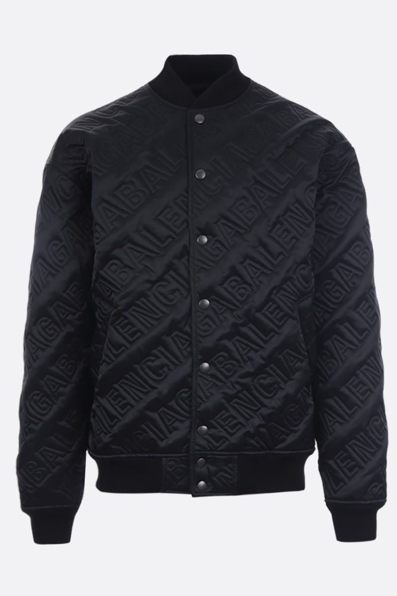 BALENCIAGA: quilted logo satin bomber jacket Color Black_1