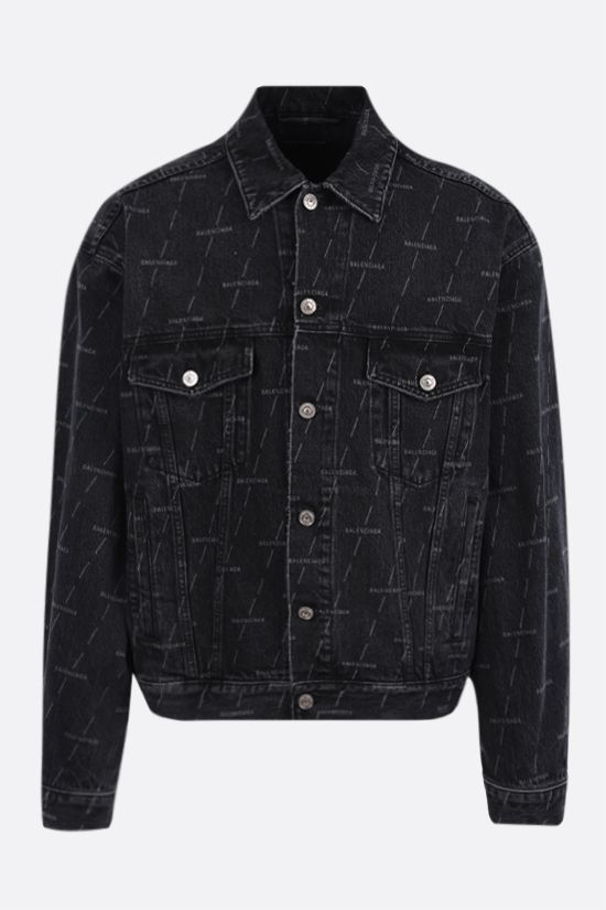 BALENCIAGA: logo print denim jacket Color Black_1