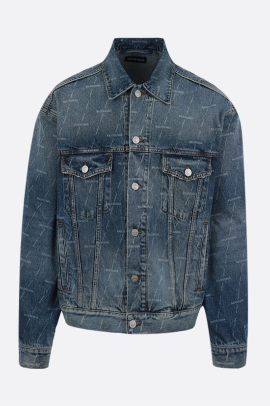 BALENCIAGA: logo print denim jacket Color Blue_1