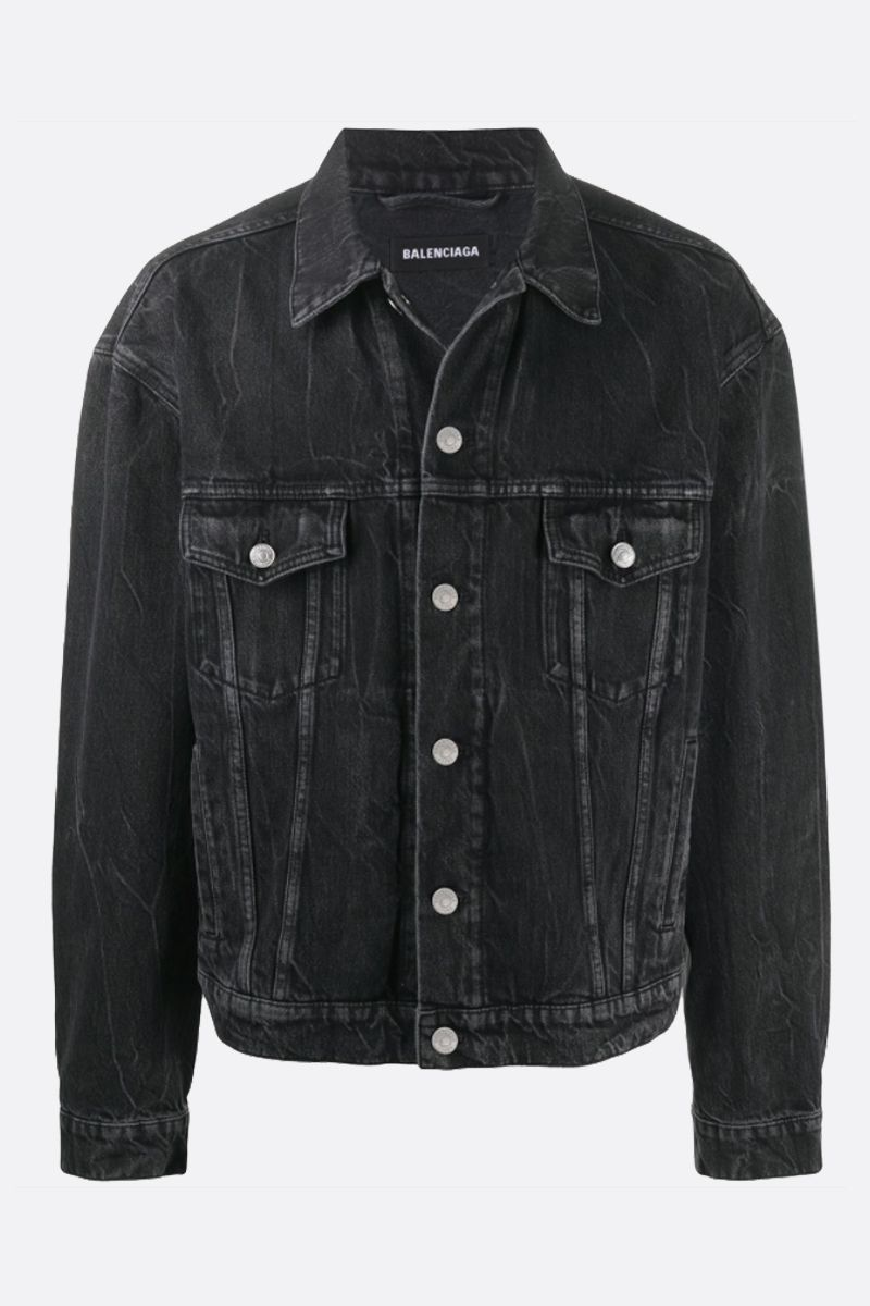 BALENCIAGA: logo print denim oversized jacket Color Black_1