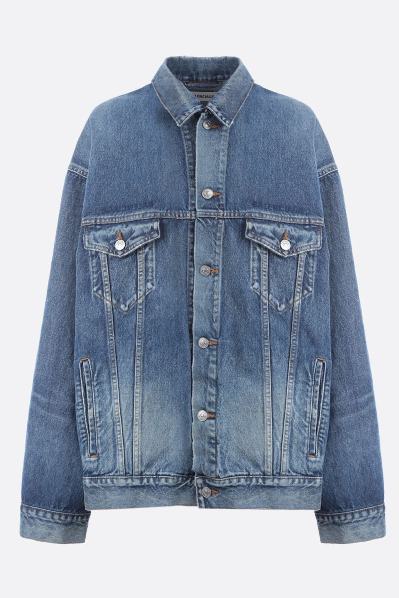 BALENCIAGA: Balenciaga embroidered denim oversize jacket_1