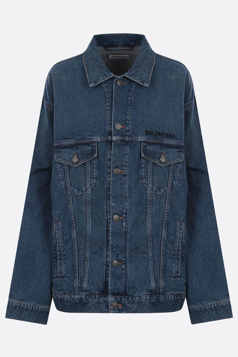 BALENCIAGA: Balenciaga embroidered oversize denim jacket_1