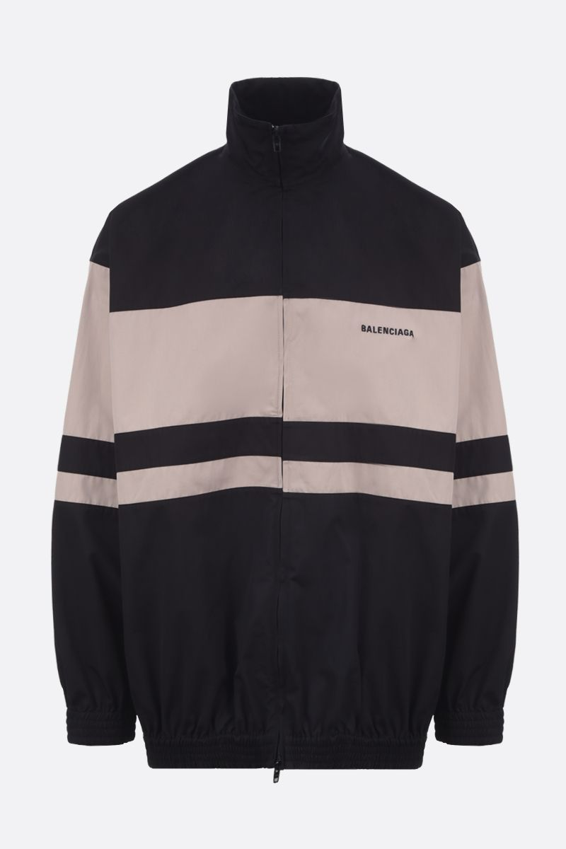 BALENCIAGA: bicolour cotton full-zip jacket Color Black_1