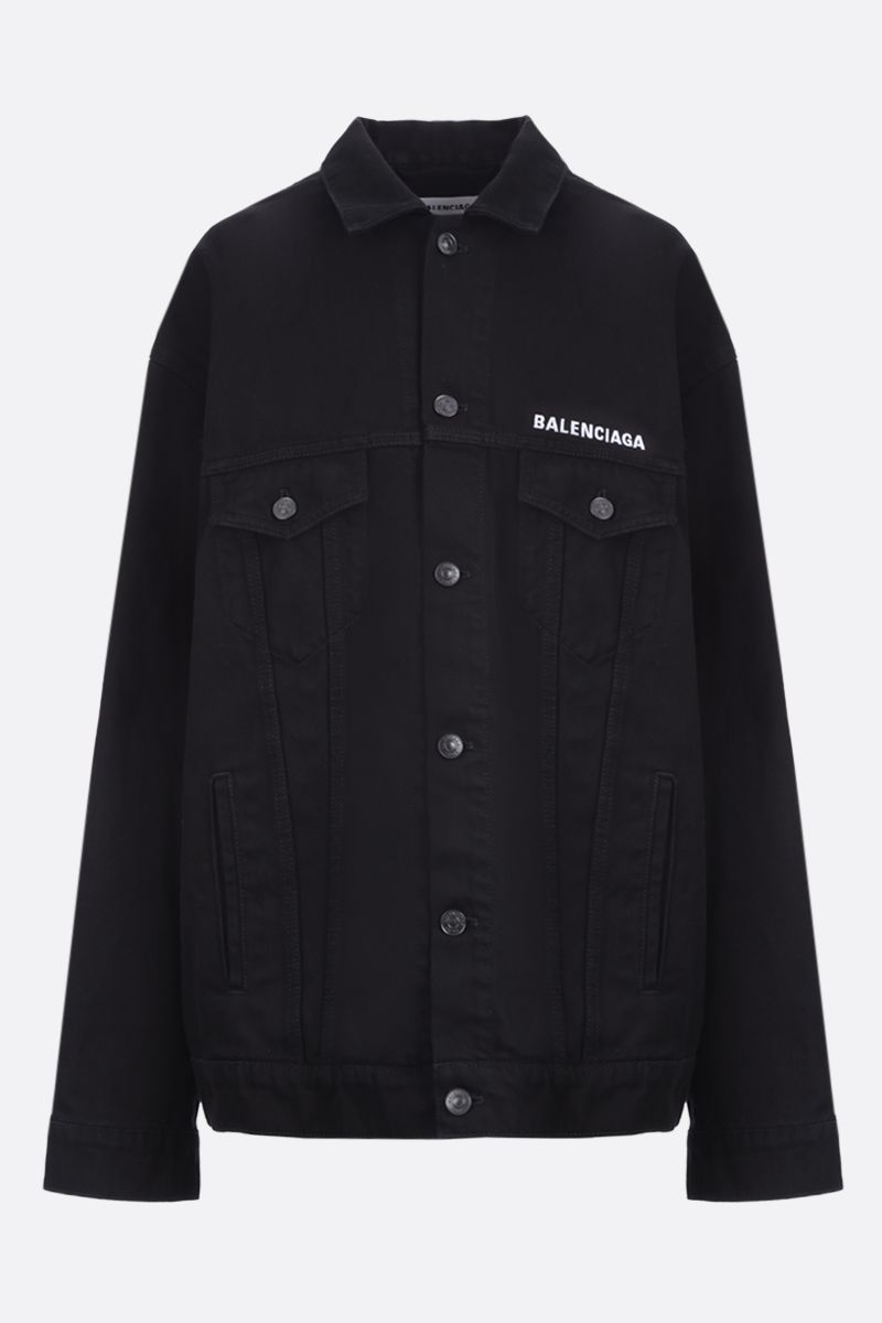 BALENCIAGA: Crew embroidered denim oversize jacket_1