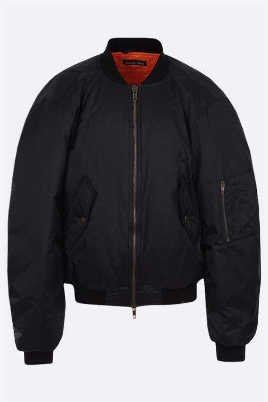 BALENCIAGA: nylon padded bomber jacket Color Black_1