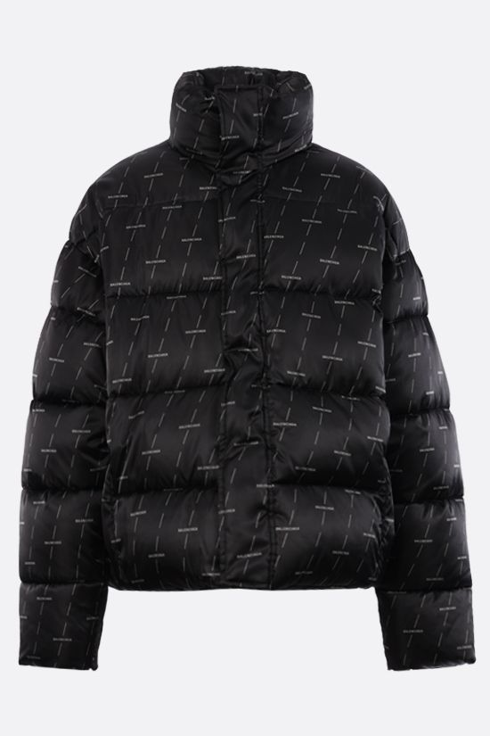 BALENCIAGA: logo print padded nylon jacket Color Grey_1