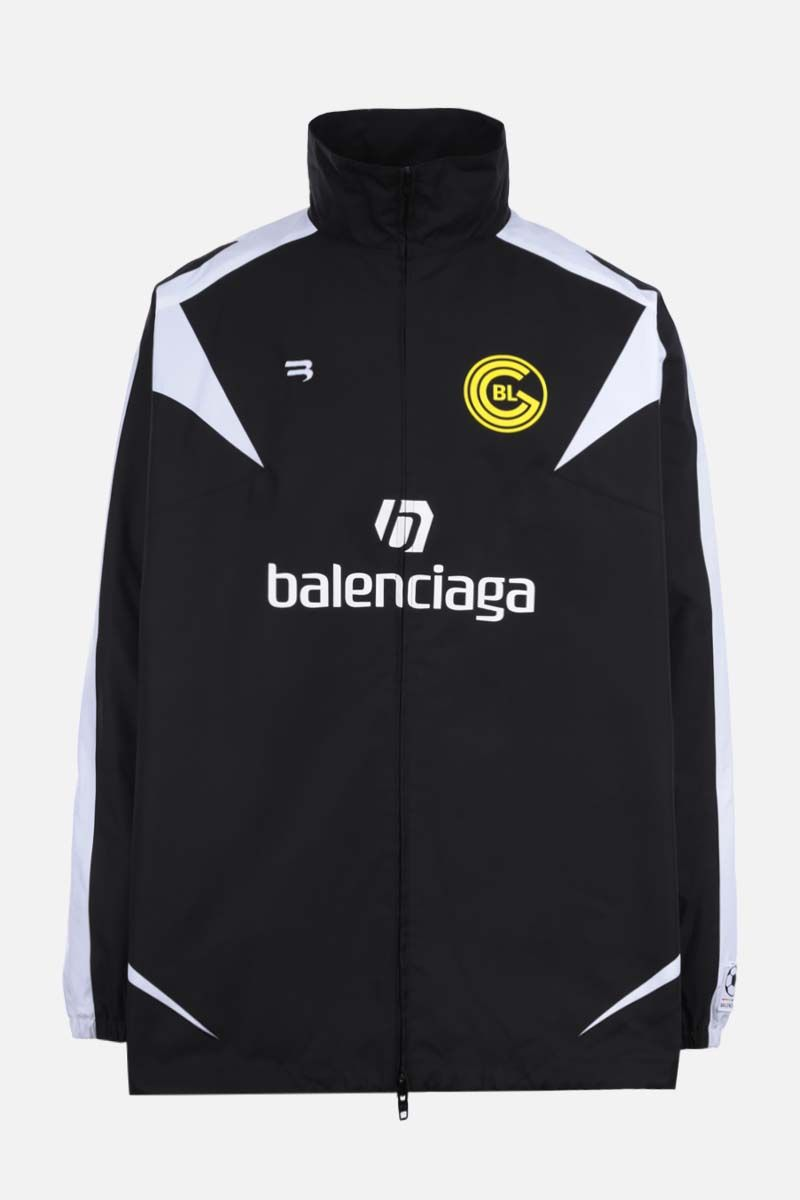 BALENCIAGA: Soccer print oversize cotton full-zip jacket Color Black_1