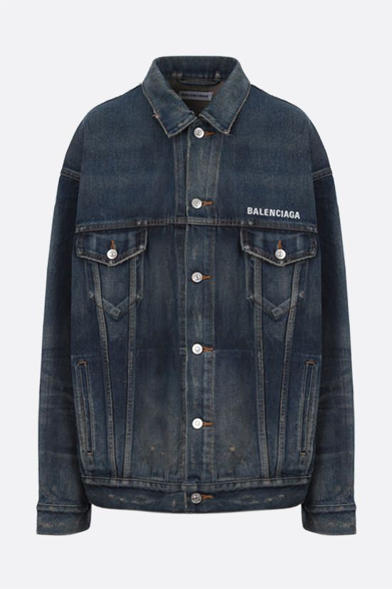 BALENCIAGA: oversize logo embroidered denim jacket_1
